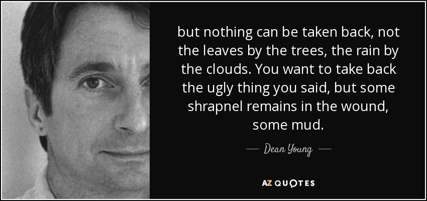 but nothing can be taken back, not the leaves by the trees, the rain by the clouds. You want to take back the ugly thing you said, but some shrapnel remains in the wound, some mud. - Dean Young