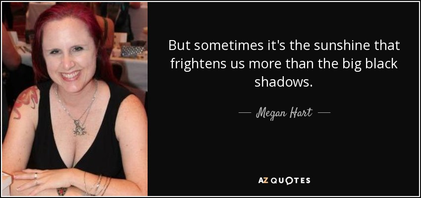But sometimes it's the sunshine that frightens us more than the big black shadows. - Megan Hart