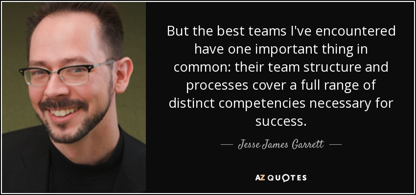 But the best teams I've encountered have one important thing in common: their team structure and processes cover a full range of distinct competencies necessary for success. - Jesse James Garrett