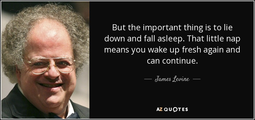 But the important thing is to lie down and fall asleep. That little nap means you wake up fresh again and can continue. - James Levine
