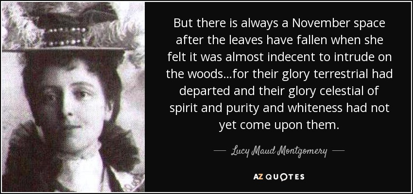 But there is always a November space after the leaves have fallen when she felt it was almost indecent to intrude on the woods…for their glory terrestrial had departed and their glory celestial of spirit and purity and whiteness had not yet come upon them. - Lucy Maud Montgomery