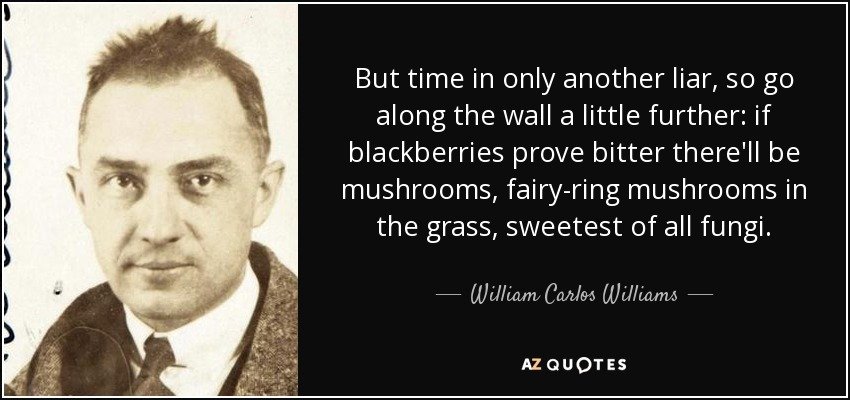 But time in only another liar, so go along the wall a little further: if blackberries prove bitter there'll be mushrooms, fairy-ring mushrooms in the grass, sweetest of all fungi. - William Carlos Williams