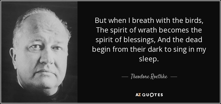 But when I breath with the birds, The spirit of wrath becomes the spirit of blessings, And the dead begin from their dark to sing in my sleep. - Theodore Roethke