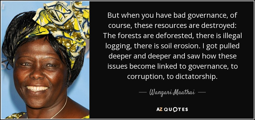 But when you have bad governance, of course, these resources are destroyed: The forests are deforested, there is illegal logging, there is soil erosion. I got pulled deeper and deeper and saw how these issues become linked to governance, to corruption, to dictatorship. - Wangari Maathai