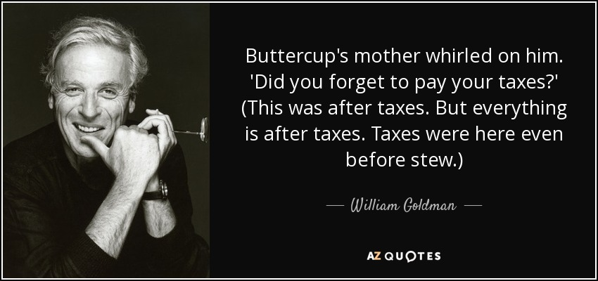 Buttercup's mother whirled on him. 'Did you forget to pay your taxes?' (This was after taxes. But everything is after taxes. Taxes were here even before stew.) - William Goldman