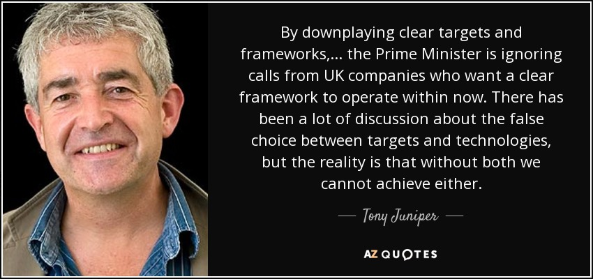 Tony Juniper quote: By downplaying clear targets and