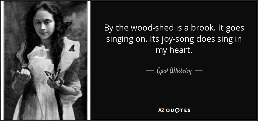 By the wood-shed is a brook. It goes singing on. Its joy-song does sing in my heart. - Opal Whiteley