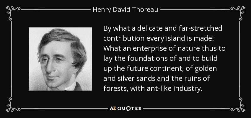 By what a delicate and far-stretched contribution every island is made! What an enterprise of nature thus to lay the foundations of and to build up the future continent, of golden and silver sands and the ruins of forests, with ant-like industry. - Henry David Thoreau