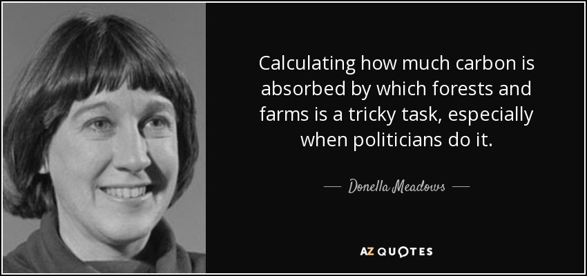Calculating how much carbon is absorbed by which forests and farms is a tricky task, especially when politicians do it. - Donella Meadows