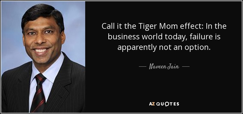 Call it the Tiger Mom effect: In the business world today, failure is apparently not an option. - Naveen Jain