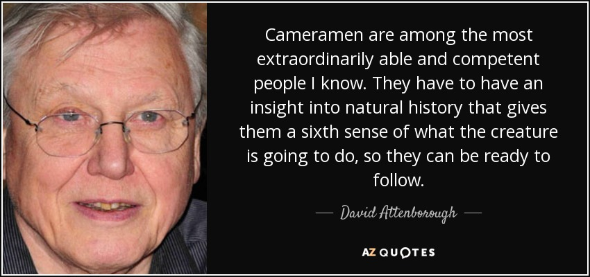 Cameramen are among the most extraordinarily able and competent people I know. They have to have an insight into natural history that gives them a sixth sense of what the creature is going to do, so they can be ready to follow. - David Attenborough