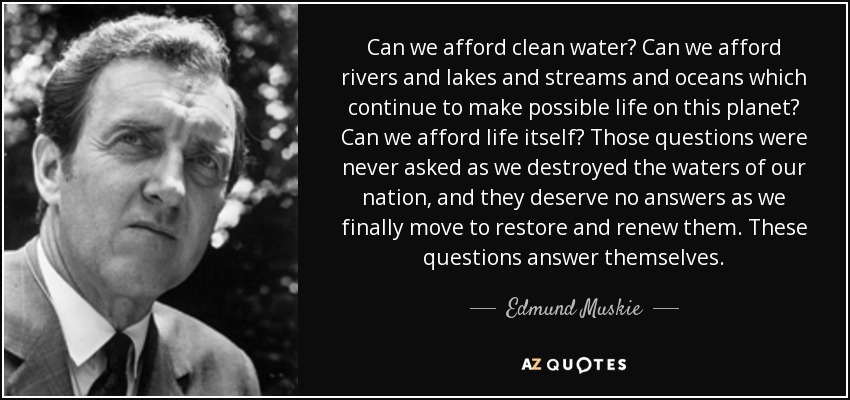 Can we afford clean water? Can we afford rivers and lakes and streams and oceans which continue to make possible life on this planet? Can we afford life itself? Those questions were never asked as we destroyed the waters of our nation, and they deserve no answers as we finally move to restore and renew them. These questions answer themselves. - Edmund Muskie