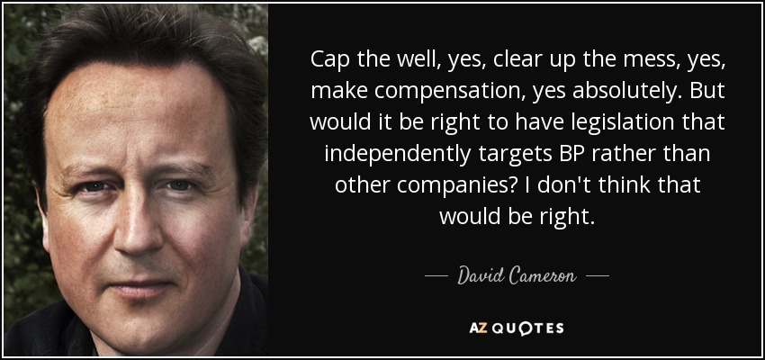 Cap the well, yes, clear up the mess, yes, make compensation, yes absolutely. But would it be right to have legislation that independently targets BP rather than other companies? I don't think that would be right. - David Cameron
