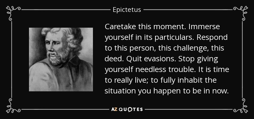 Caretake this moment. Immerse yourself in its particulars. Respond to this person, this challenge, this deed. Quit evasions. Stop giving yourself needless trouble. It is time to really live; to fully inhabit the situation you happen to be in now. - Epictetus