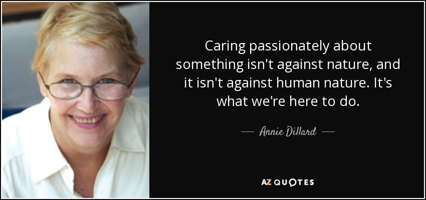 Caring passionately about something isn't against nature, and it isn't against human nature. It's what we're here to do. - Annie Dillard
