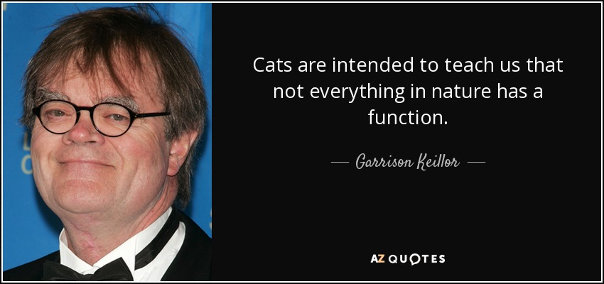 Cats are intended to teach us that not everything in nature has a function. - Garrison Keillor