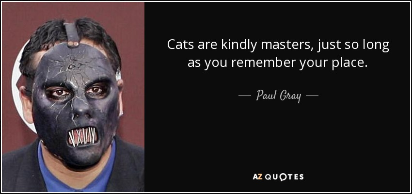 Cats are kindly masters, just so long as you remember your place. - Paul Gray