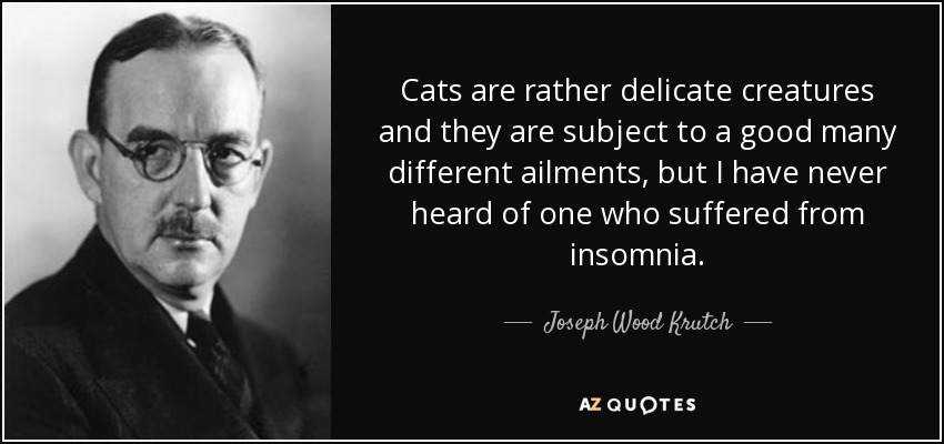 Cats are rather delicate creatures and they are subject to a good many different ailments, but I have never heard of one who suffered from insomnia. - Joseph Wood Krutch