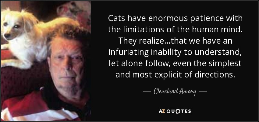 Cats have enormous patience with the limitations of the human mind. They realize...that we have an infuriating inability to understand, let alone follow, even the simplest and most explicit of directions. - Cleveland Amory
