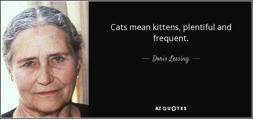 Cats mean kittens, plentiful and frequent. - Doris Lessing