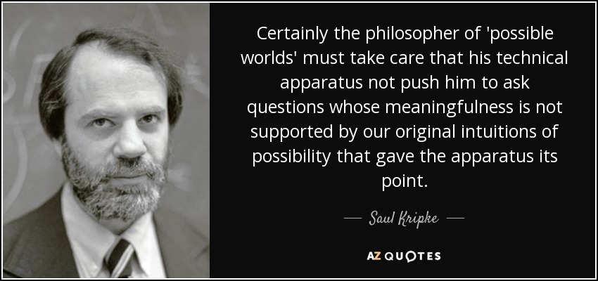 Certainly the philosopher of 'possible worlds' must take care that his technical apparatus not push him to ask questions whose meaningfulness is not supported by our original intuitions of possibility that gave the apparatus its point. - Saul Kripke