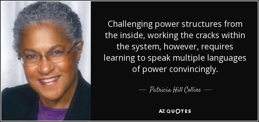 Challenging power structures from the inside, working the cracks within the system, however, requires learning to speak multiple languages of power convincingly. - Patricia Hill Collins