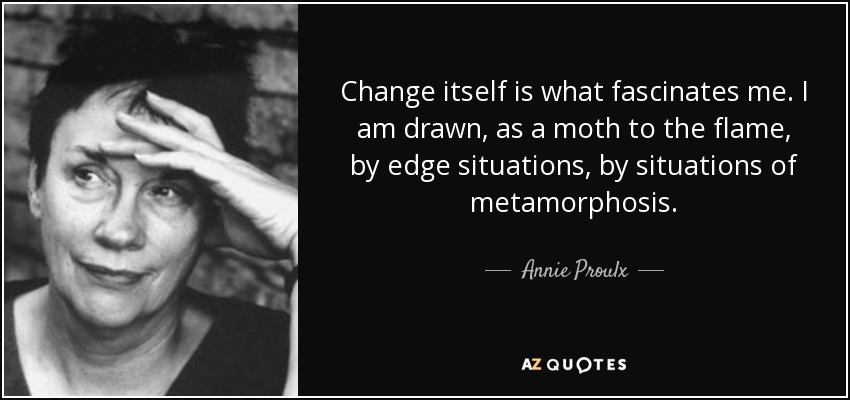 Change itself is what fascinates me. I am drawn, as a moth to the flame, by edge situations, by situations of metamorphosis. - Annie Proulx