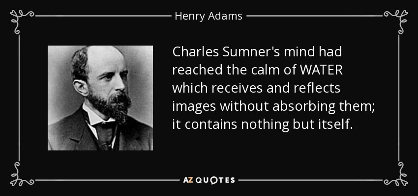 Charles Sumner's mind had reached the calm of WATER which receives and reflects images without absorbing them; it contains nothing but itself. - Henry Adams