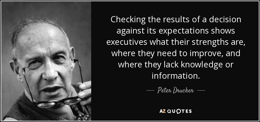 Checking the results of a decision against its expectations shows executives what their strengths are, where they need to improve, and where they lack knowledge or information. - Peter Drucker