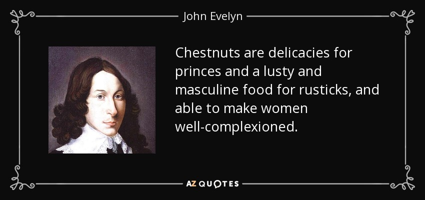Chestnuts are delicacies for princes and a lusty and masculine food for rusticks, and able to make women well-complexioned. - John Evelyn