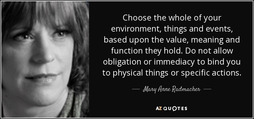 Choose the whole of your environment, things and events, based upon the value, meaning and function they hold. Do not allow obligation or immediacy to bind you to physical things or specific actions. - Mary Anne Radmacher