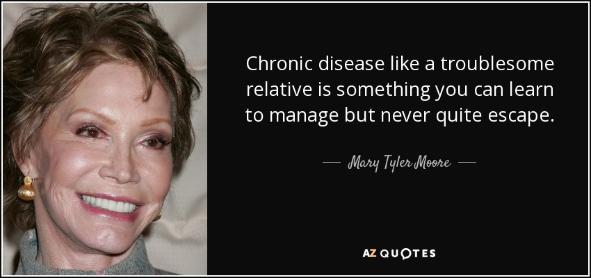 Chronic disease like a troublesome relative is something you can learn to manage but never quite escape. - Mary Tyler Moore