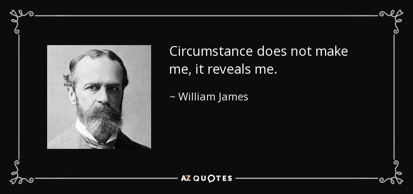 Circumstance does not make me, it reveals me. - William James