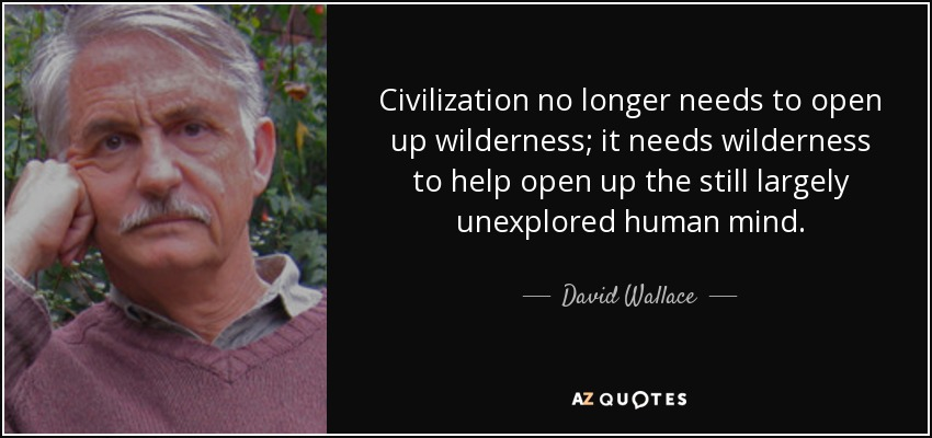 Civilization no longer needs to open up wilderness; it needs wilderness to help open up the still largely unexplored human mind. - David Wallace