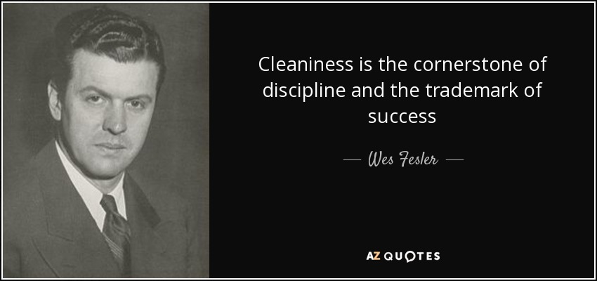 Cleaniness is the cornerstone of discipline and the trademark of success - Wes Fesler