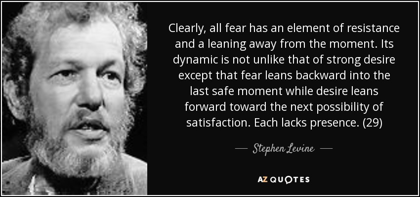 Clearly, all fear has an element of resistance and a leaning away from the moment. Its dynamic is not unlike that of strong desire except that fear leans backward into the last safe moment while desire leans forward toward the next possibility of satisfaction. Each lacks presence. (29) - Stephen Levine