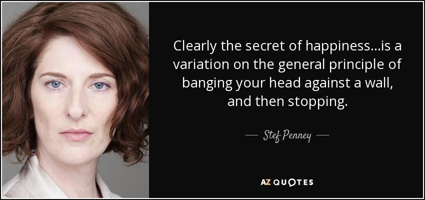 Clearly the secret of happiness...is a variation on the general principle of banging your head against a wall, and then stopping. - Stef Penney
