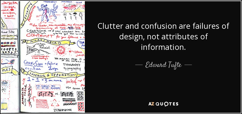 Clutter and confusion are failures of design, not attributes of information. - Edward Tufte