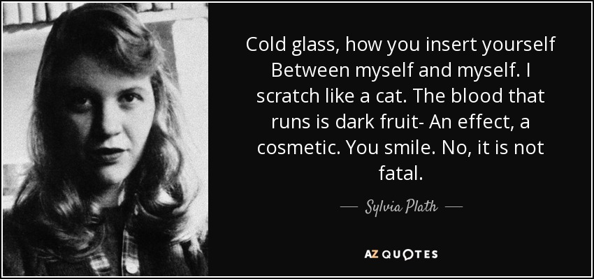 Cold glass, how you insert yourself Between myself and myself. I scratch like a cat. The blood that runs is dark fruit- An effect, a cosmetic. You smile. No, it is not fatal. - Sylvia Plath