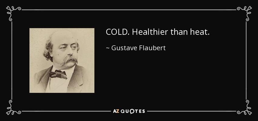 COLD. Healthier than heat. - Gustave Flaubert