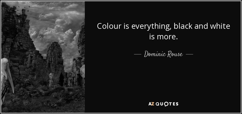 Dominic Rouse Quote Colour Is Everything Black And White Is More