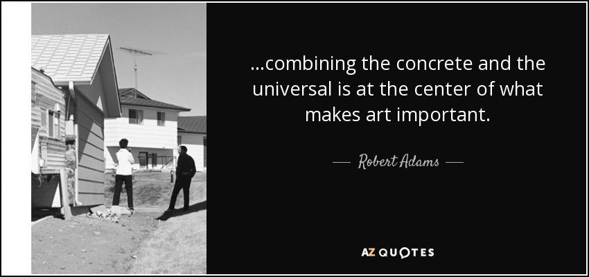 ...combining the concrete and the universal is at the center of what makes art important. - Robert Adams