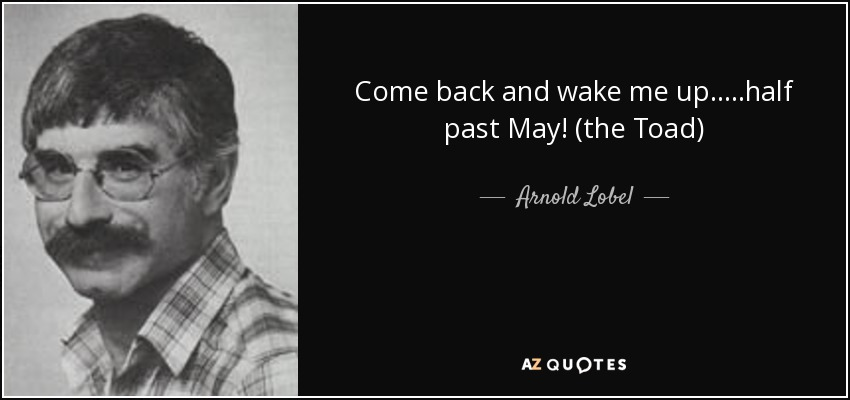 Come back and wake me up.....half past May! (the Toad) - Arnold Lobel