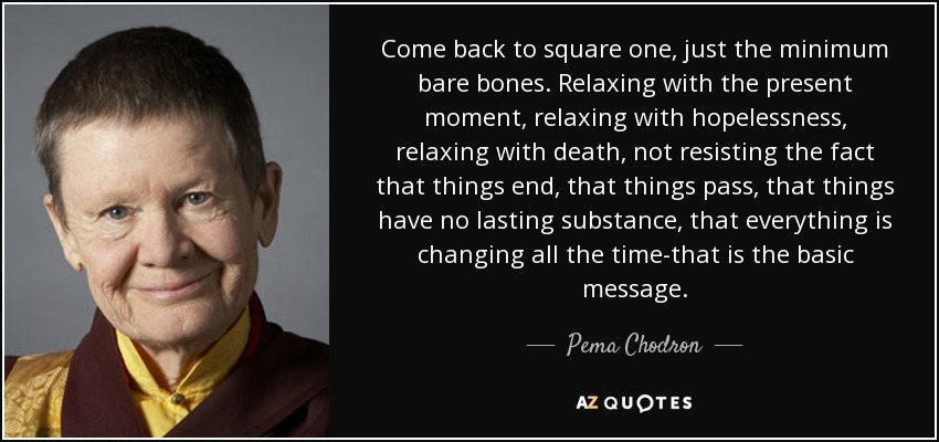 Come back to square one, just the minimum bare bones. Relaxing with the present moment, relaxing with hopelessness, relaxing with death, not resisting the fact that things end, that things pass, that things have no lasting substance, that everything is changing all the time-that is the basic message. - Pema Chodron