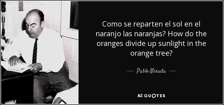 Como se reparten el sol en el naranjo las naranjas? How do the oranges divide up sunlight in the orange tree? - Pablo Neruda