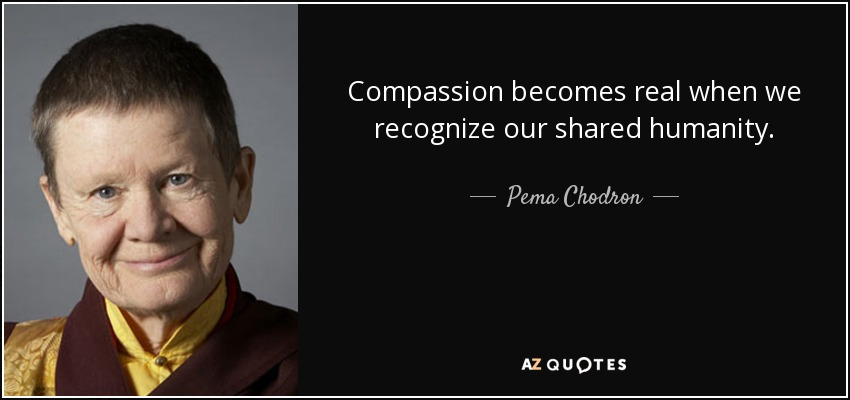 Compassion becomes real when we recognize our shared humanity. - Pema Chodron