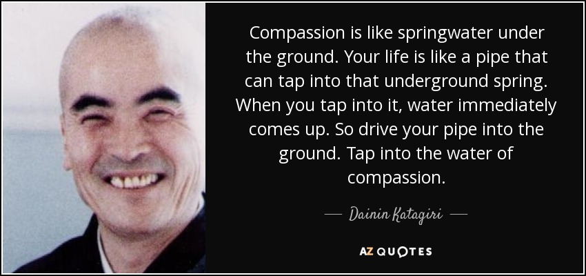 Compassion is like springwater under the ground. Your life is like a pipe that can tap into that underground spring. When you tap into it, water immediately comes up. So drive your pipe into the ground. Tap into the water of compassion. - Dainin Katagiri