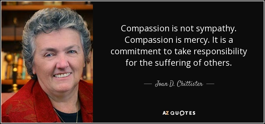 Compassion is not sympathy. Compassion is mercy. It is a commitment to take responsibility for the suffering of others. - Joan D. Chittister