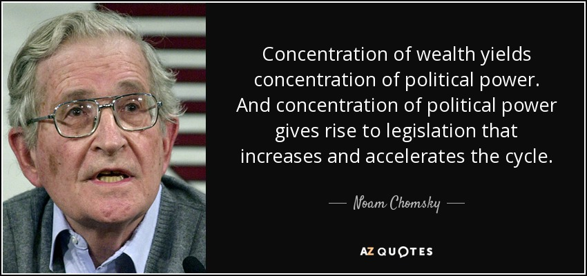Concentration of wealth yields concentration of political power. And concentration of political power gives rise to legislation that increases and accelerates the cycle. - Noam Chomsky