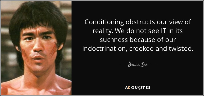 Conditioning obstructs our view of reality. We do not see IT in its suchness because of our indoctrination, crooked and twisted. - Bruce Lee